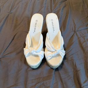 White Wild Diva wedges